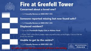 help advice for fire at Grenfell Tower